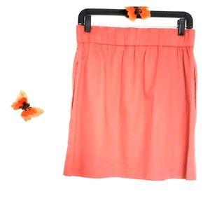 J Crew Cotton Salmon Color Pockets Mini Skirt 4